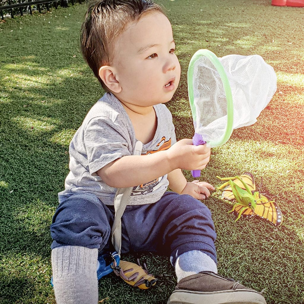 Toddler playing with bug net on outside playground